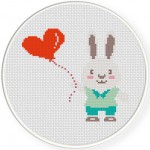 Bunny Boy with Heart Balloon Illustraiton