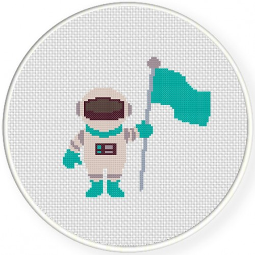 Astronaut with Flag Illustraition