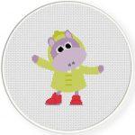 Rainy Day Hippo Illustraition