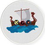 Viking Boat Illustraition