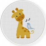 Giraffe And Birdie Illustraition
