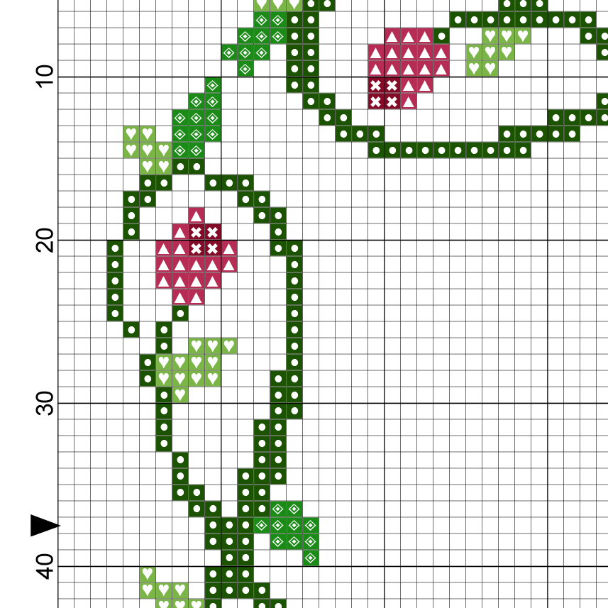 rose frame cross stitch pattern