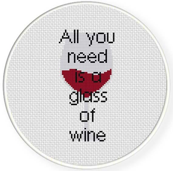 Glass Of Wine Cross Stitch Pattern Daily Cross Stitch