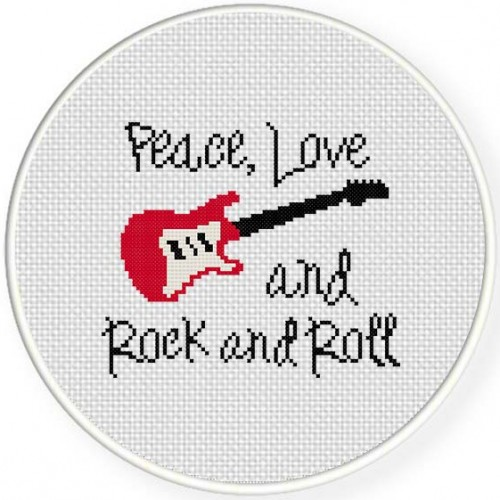 Peace Love Rock and Roll Illustration