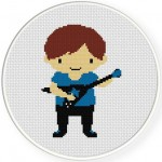 Rock Star Boy Blue Shirt Illustration