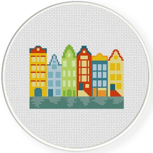 Amsterdam Houses Stitch Illustration