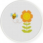 Bee and Flower Stitch Illustration