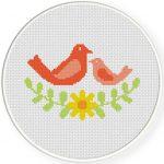 Bird Laurel Wreath Stitch Illustration
