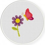 Butterfly and Flower Stitch Illustration