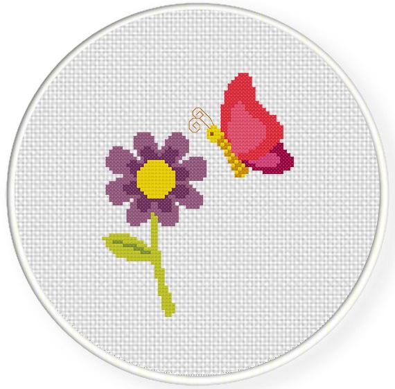 Butterfly And Flower Cross Stitch Pattern Daily Cross Stitch