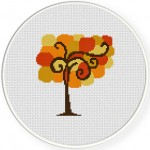 Autumn Tree Cross Stitch Illustration