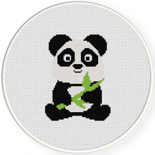 Baby Panda Cross Stitch Illustration