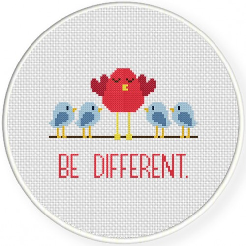 Be Different Cross Stitch Illustration
