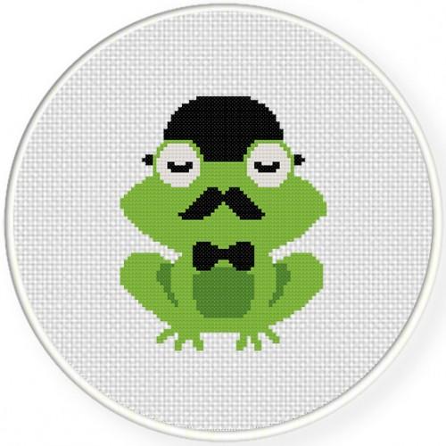Classy Frog Cross Stitch Illustration