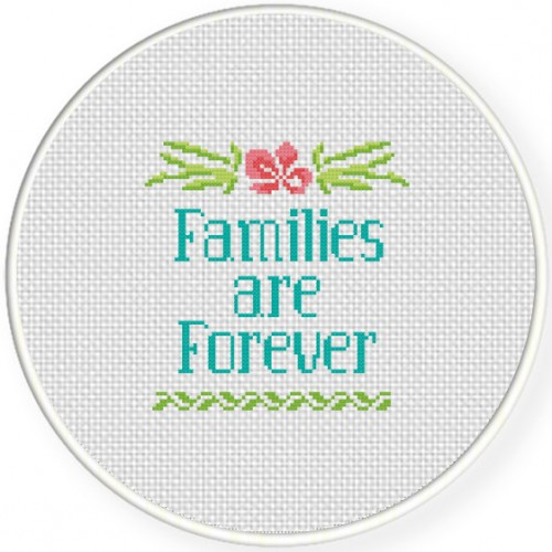 Families are Forever Cross Stitch Illustration