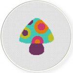 Hippie Mushroom Cross Stitch Illustration