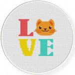 LOVE kitty Cross Stitch Illustration