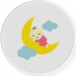 Sleepy Baby Cross Stitch Illustration