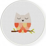 Sleepy Owl Cross Stitch Illustration