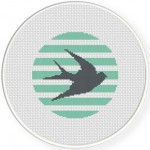 Swallow Stripes Cross Stitch Illustration