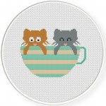 Teacup Kitty Cross Stitch Illustration