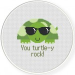 You Turtley Rock Cross Stitch Illustration