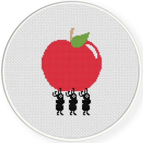 Ants Carrying Apple Cross Stitch Illustration