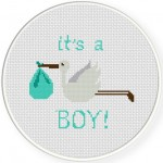 Baby Boy Stork Delivery Cross Stitch Illustration