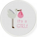 Baby Girl Stork Delivery Cross Stitch Illustration