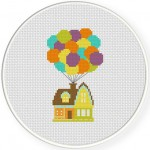 Balloon House Cross Stitch Illustration