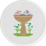 Bird Bath Cross Stitch Illustration