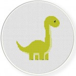 Cute Dino Cross Stitch Illustration