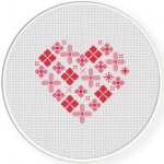 Flowers Heart Cross Stitch Illustration