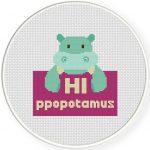 HI-ppopotamus Cross Stitch Illustration