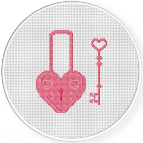 Key To My Heart Cross Stitch Illustration