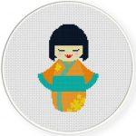 Kokeshi Doll Cross Stitch Illustration