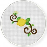 Lemon Branch Cross Stitch Illustration