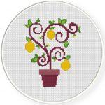 Lemon Tree Cross Stitch Illustration