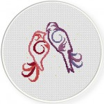Love Birds Cross Stitch Illustration