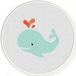 Love Whale Cross Stitch Illustration
