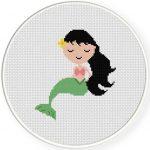 Lovely Mermaid Cross Stitch Illustration