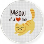 Meow If You Love Me Cross Stitch Illustration