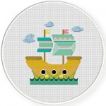 Mystical Ship Cross Stitch Illustration
