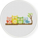 Owl Friends Cross Stitch Illustration