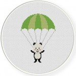 Panda with Parachute Cross Stitch Illustration