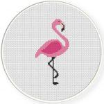 Pink Flamingo Cross Stitch Illustration
