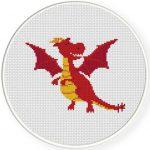 Red Dragon Cross Stitch Illustration