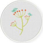 Small Birds on plants Cross Stitch Illustration