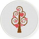 Tree Of Hearts Cross Stitch Illustration