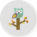 Winking Owl Cross Stitch Illustration